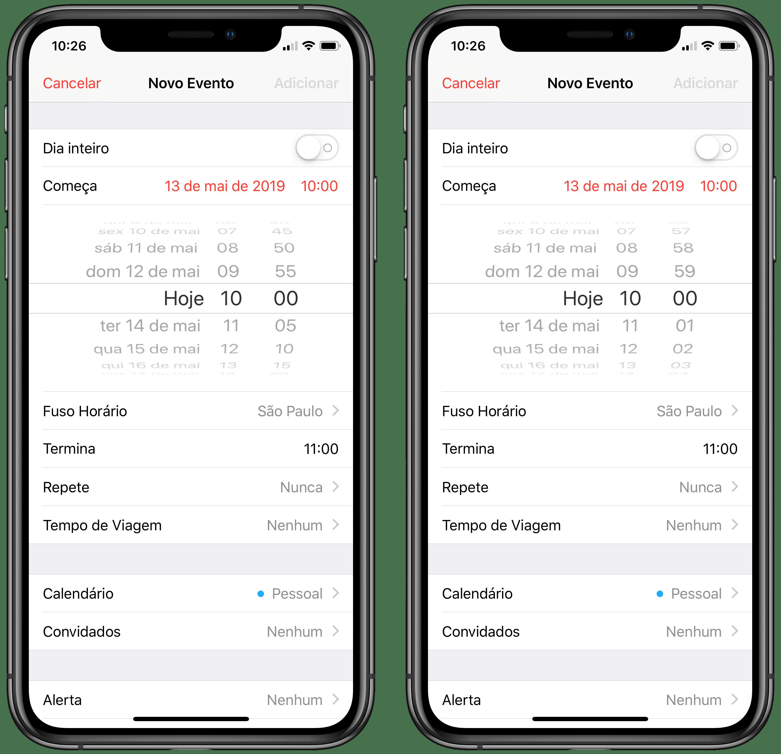 Seletor de horário do iOS