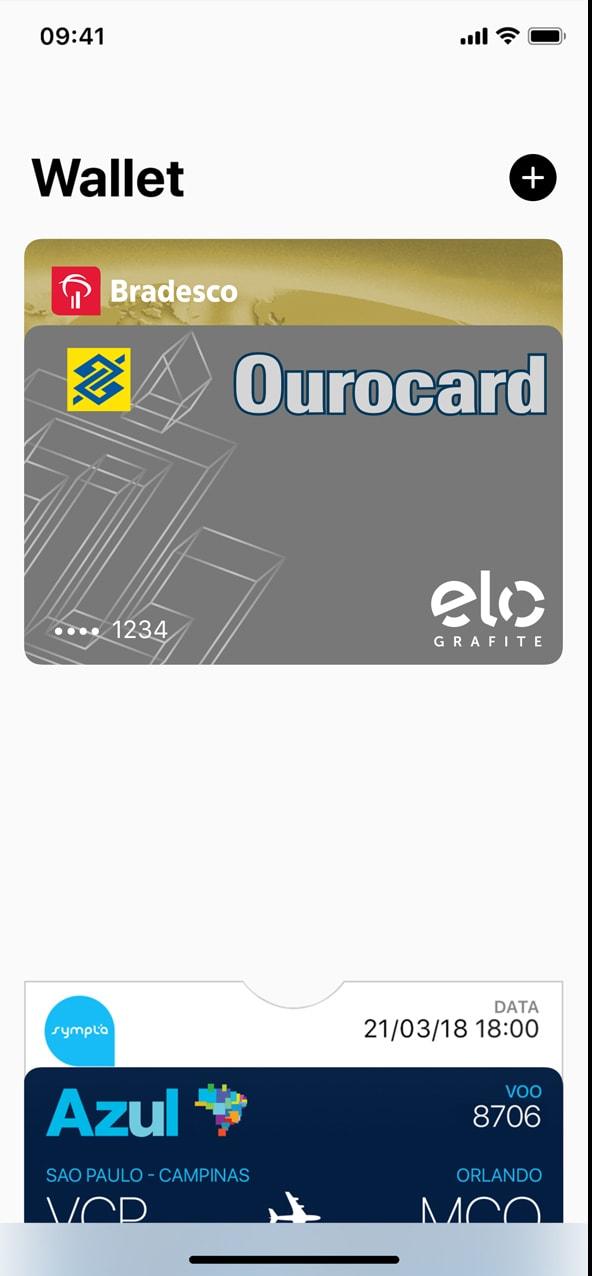 Cartão de crédito Ourocard com a bandeira Elo no Apple Pay