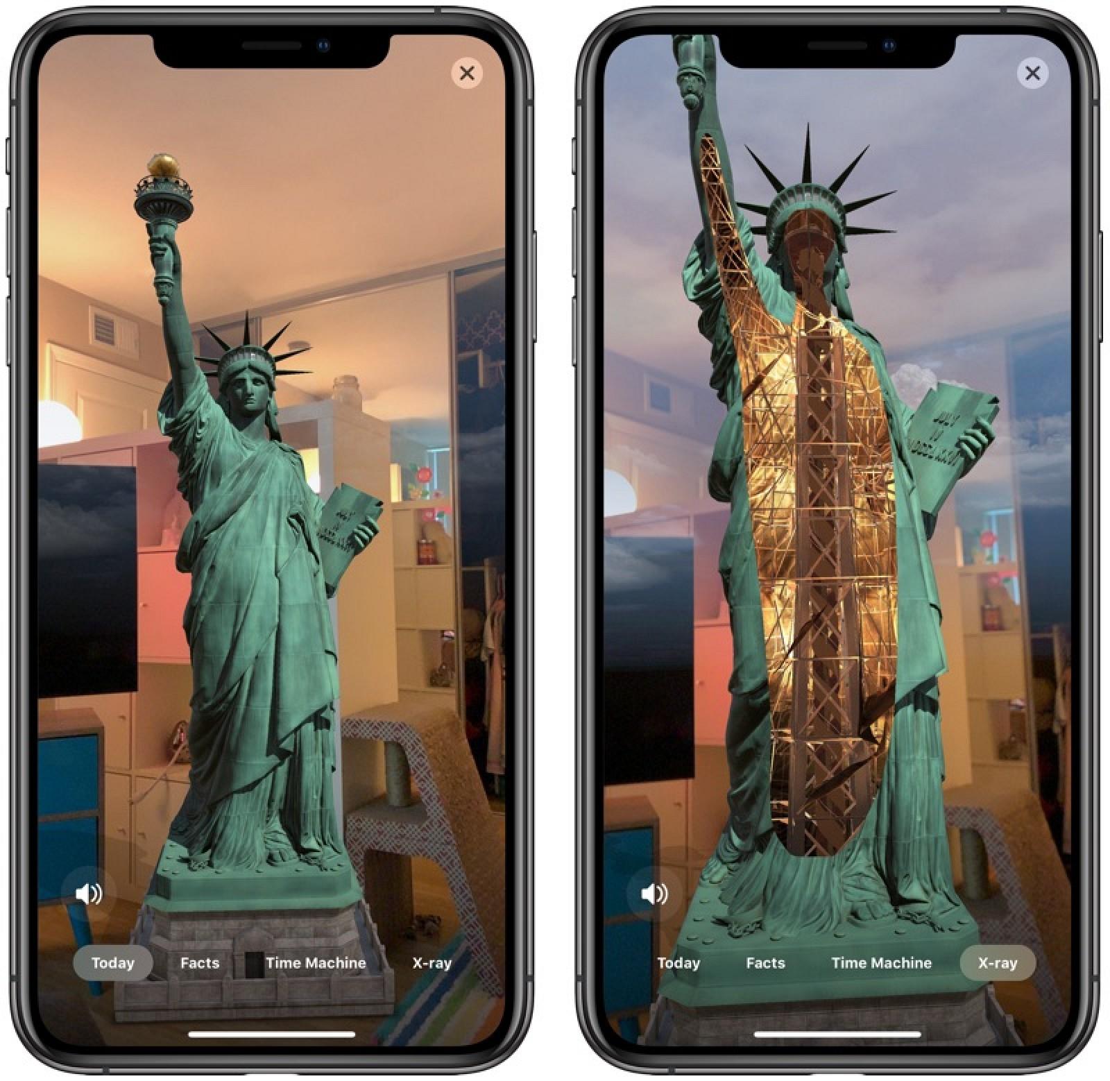Recursos AR do app da Estátua da Liberdade