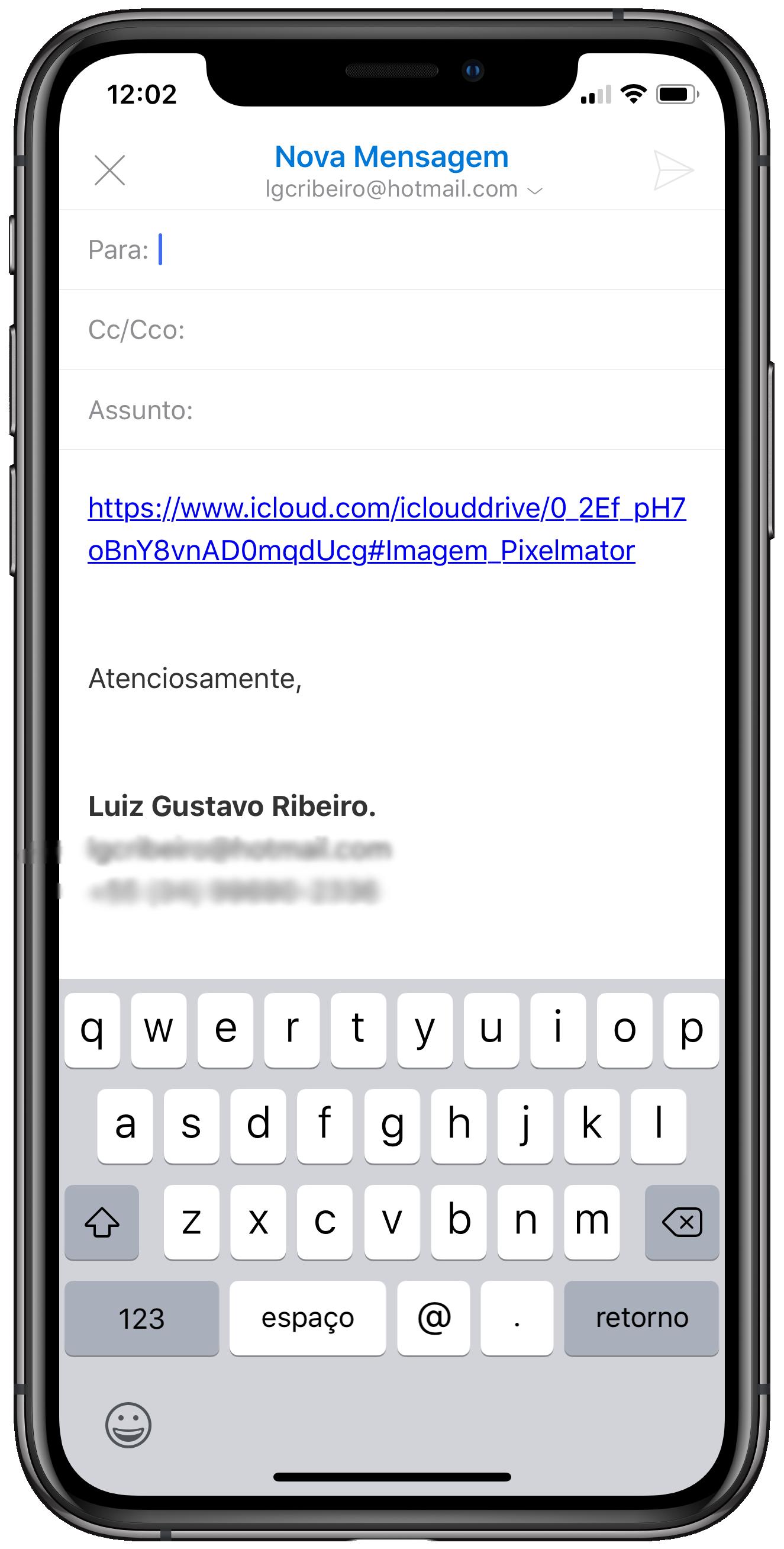 Link de compartilhamento do iCloud Drive