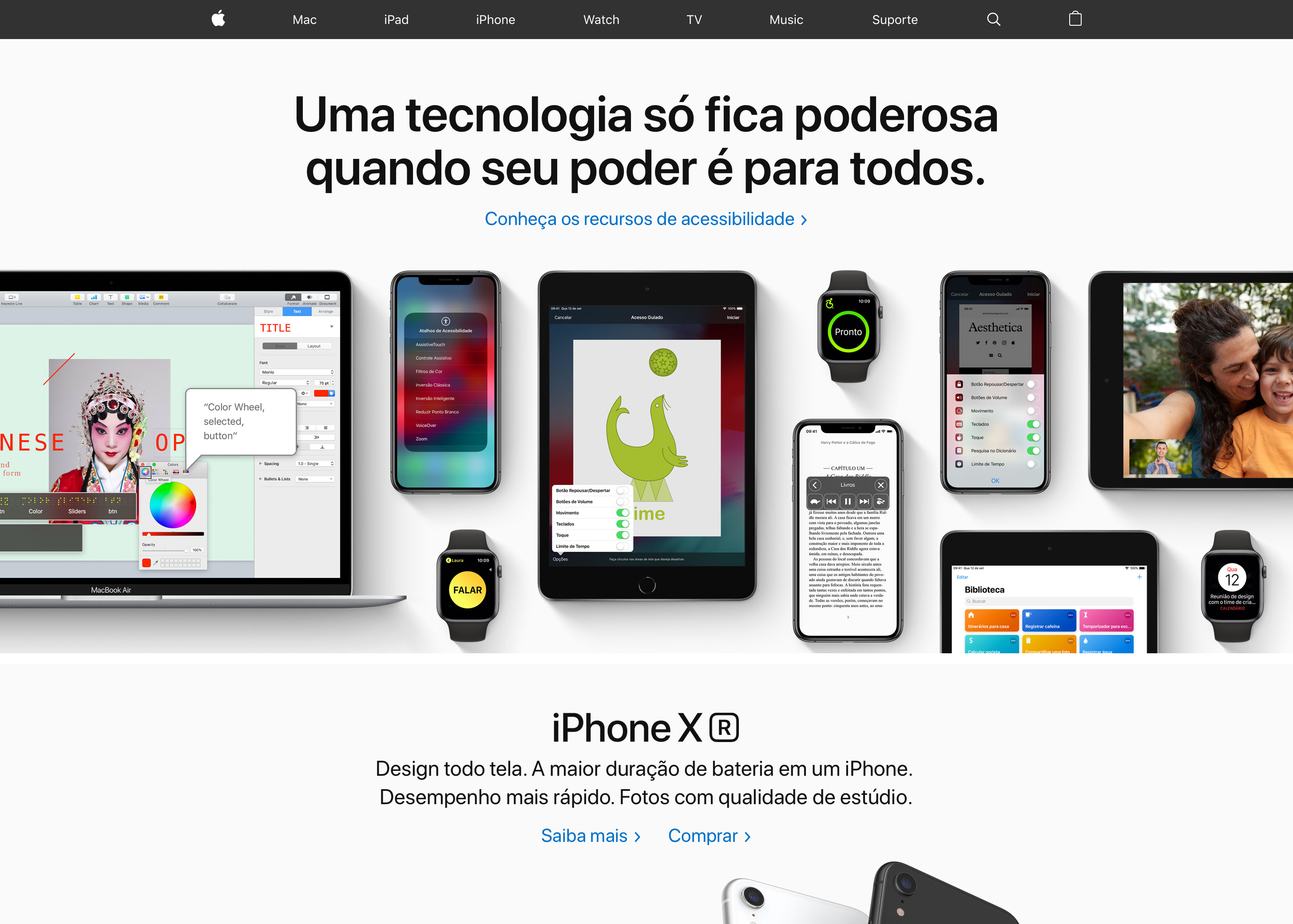 Acessibilidade no site da Apple