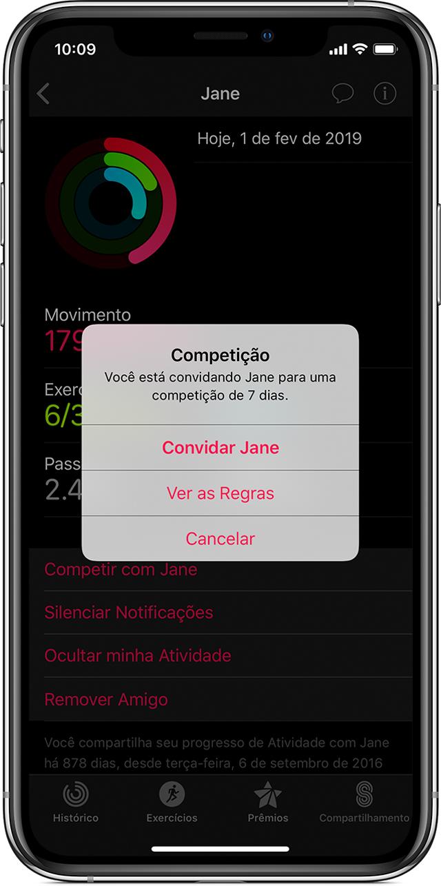 Competir com amigos no app Atividade
