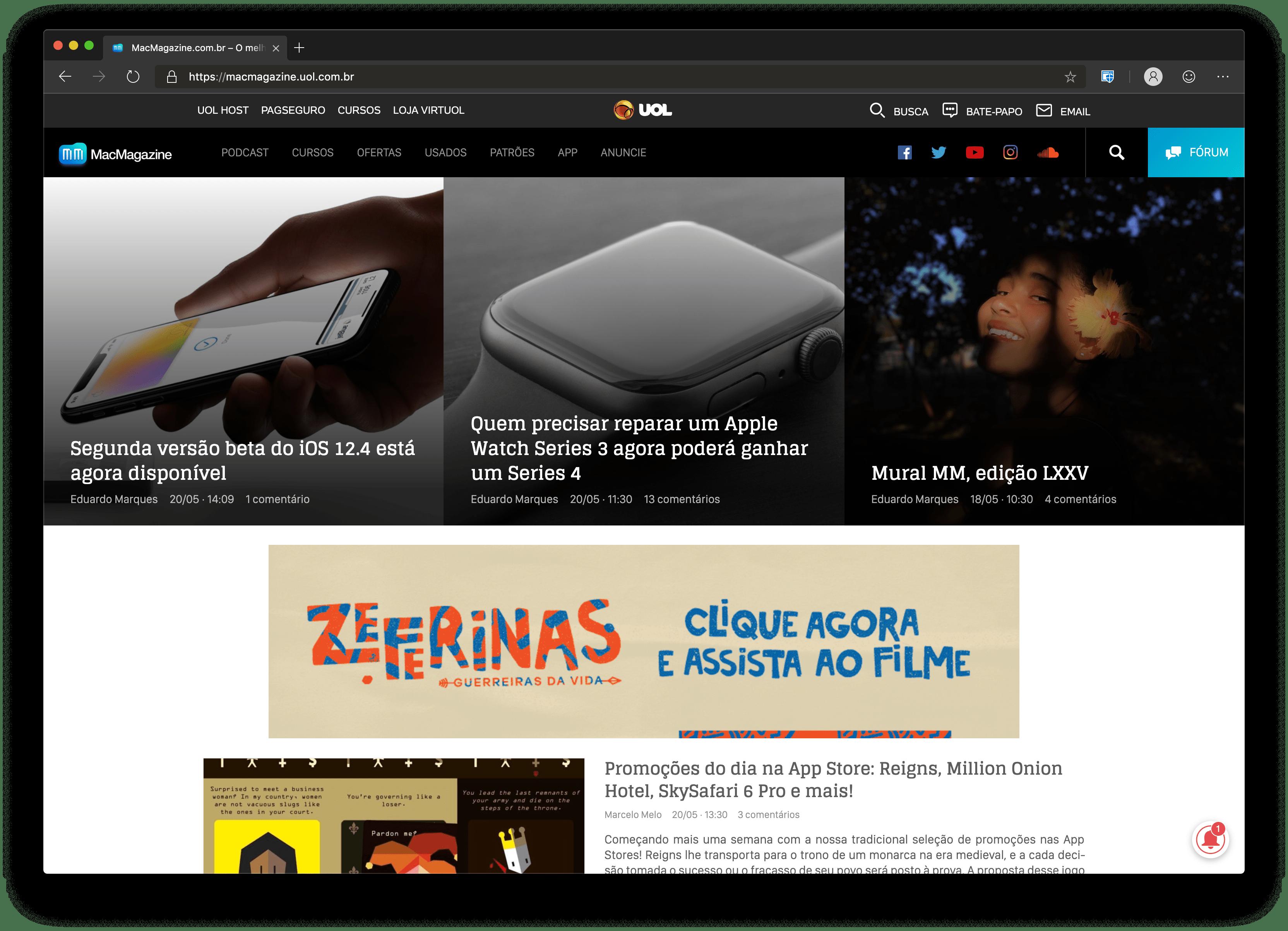 MacMagazine rodando no Microsoft Edge para macOS