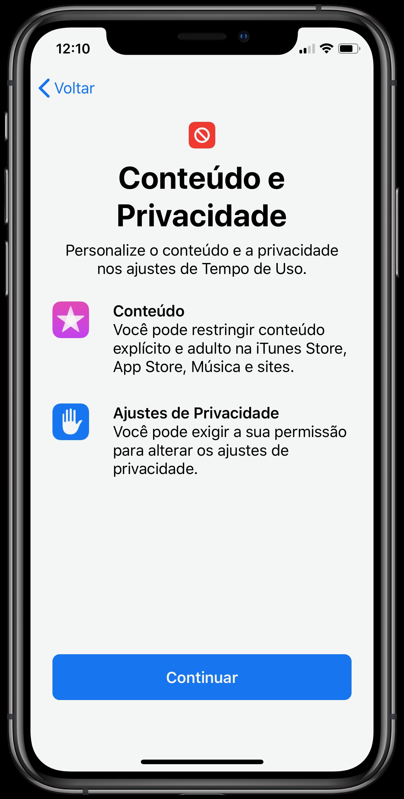 """Configurando o """"Conteúdo e Privacidade"""""""