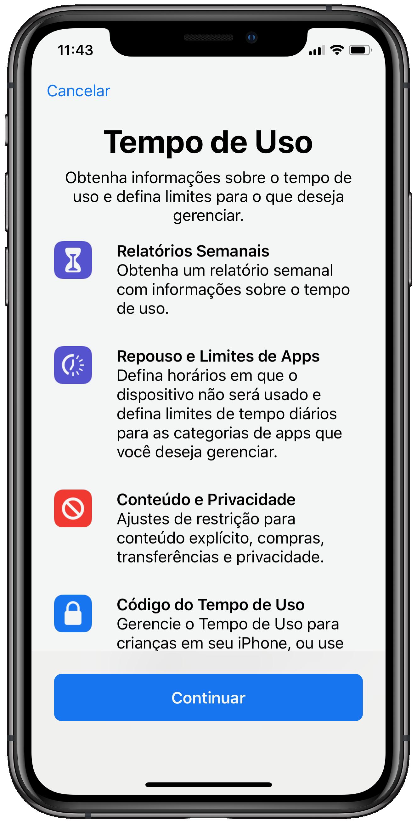 """Recurso """"Tempo de Uso"""" do iOS 12"""