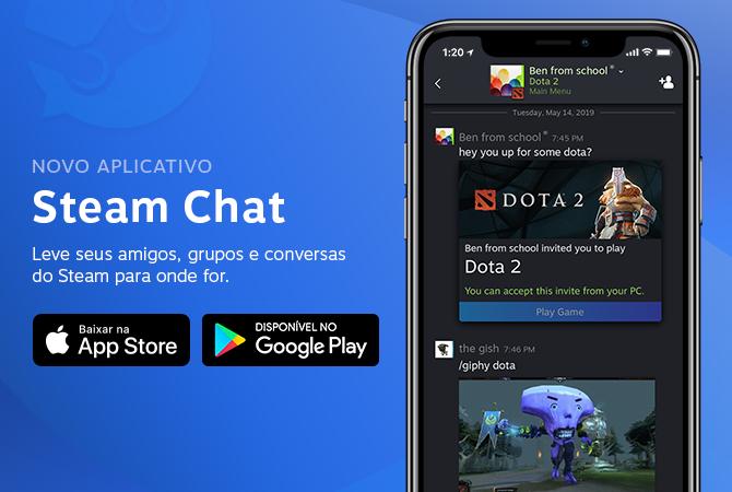 Divulgação do app Steam Chat