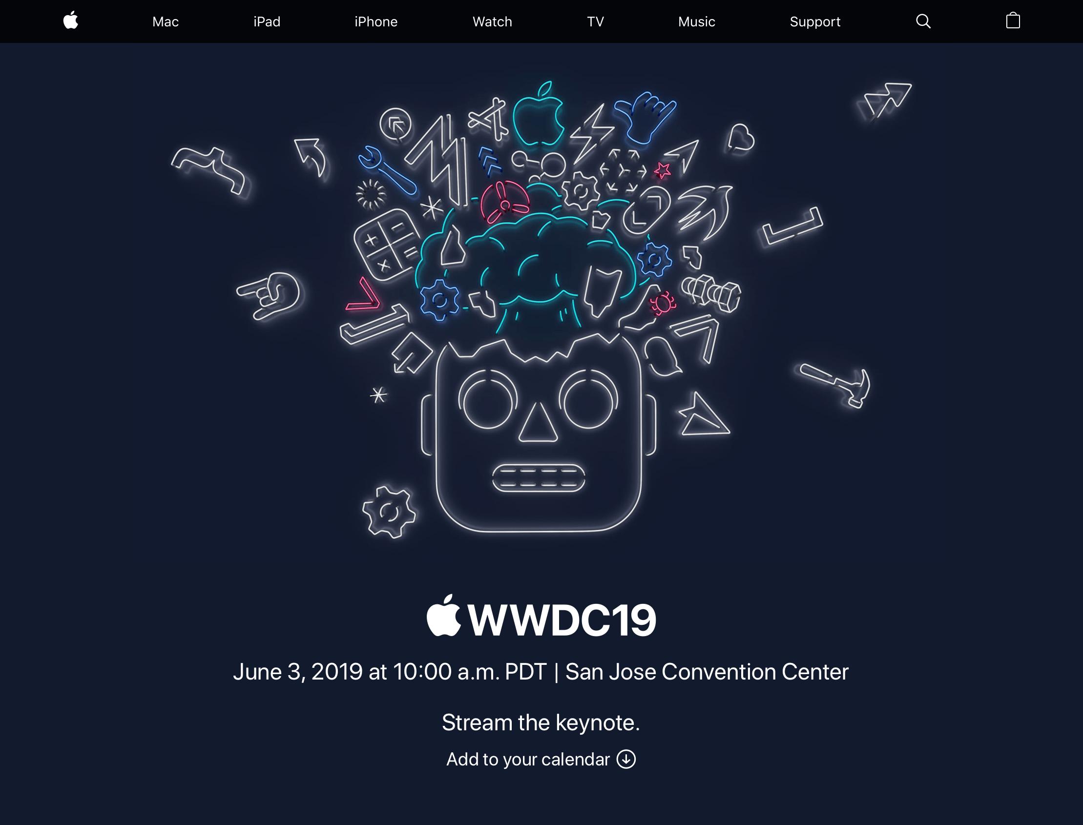 Página de transmissão de eventos da Apple com a WWDC19