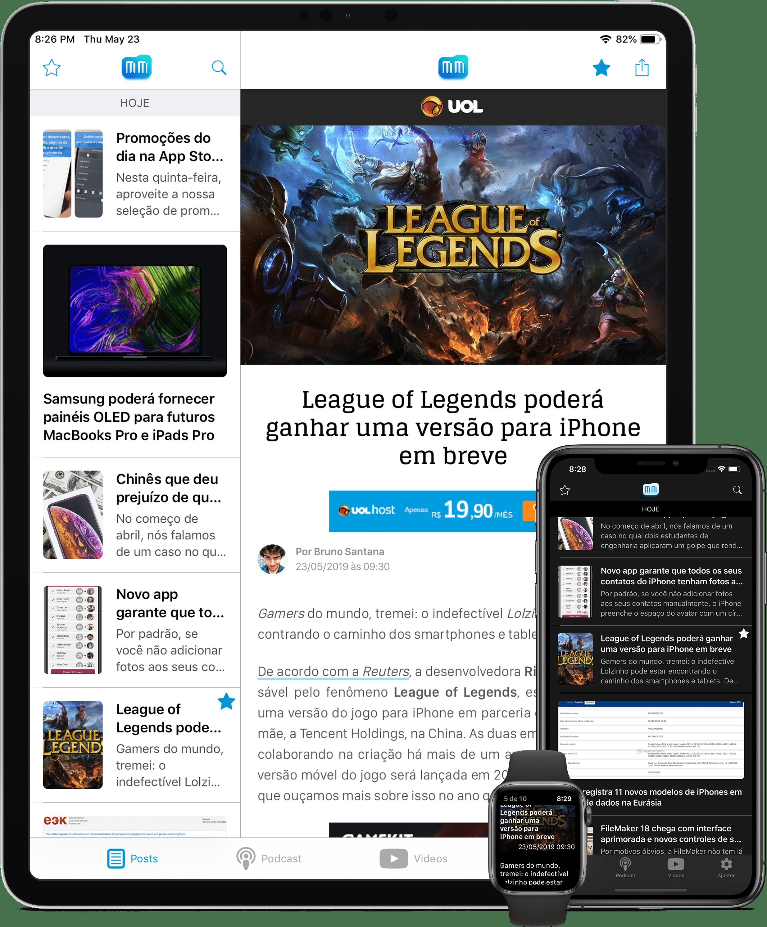 App do MacMagazine - versão 4.0 (iPad Pro, iPhone XS Max e Apple Watch Series 4)