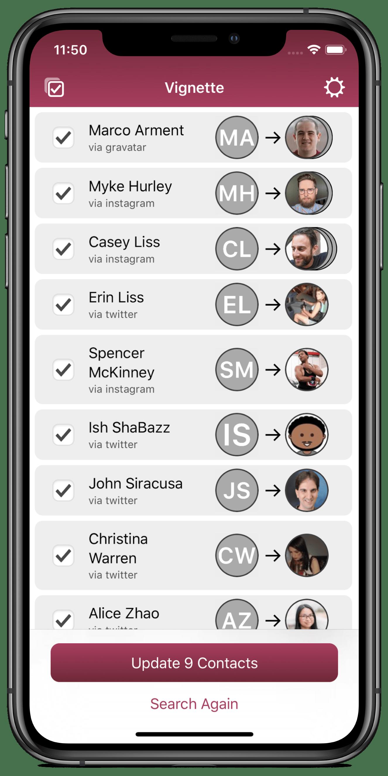App Vignette num iPhone