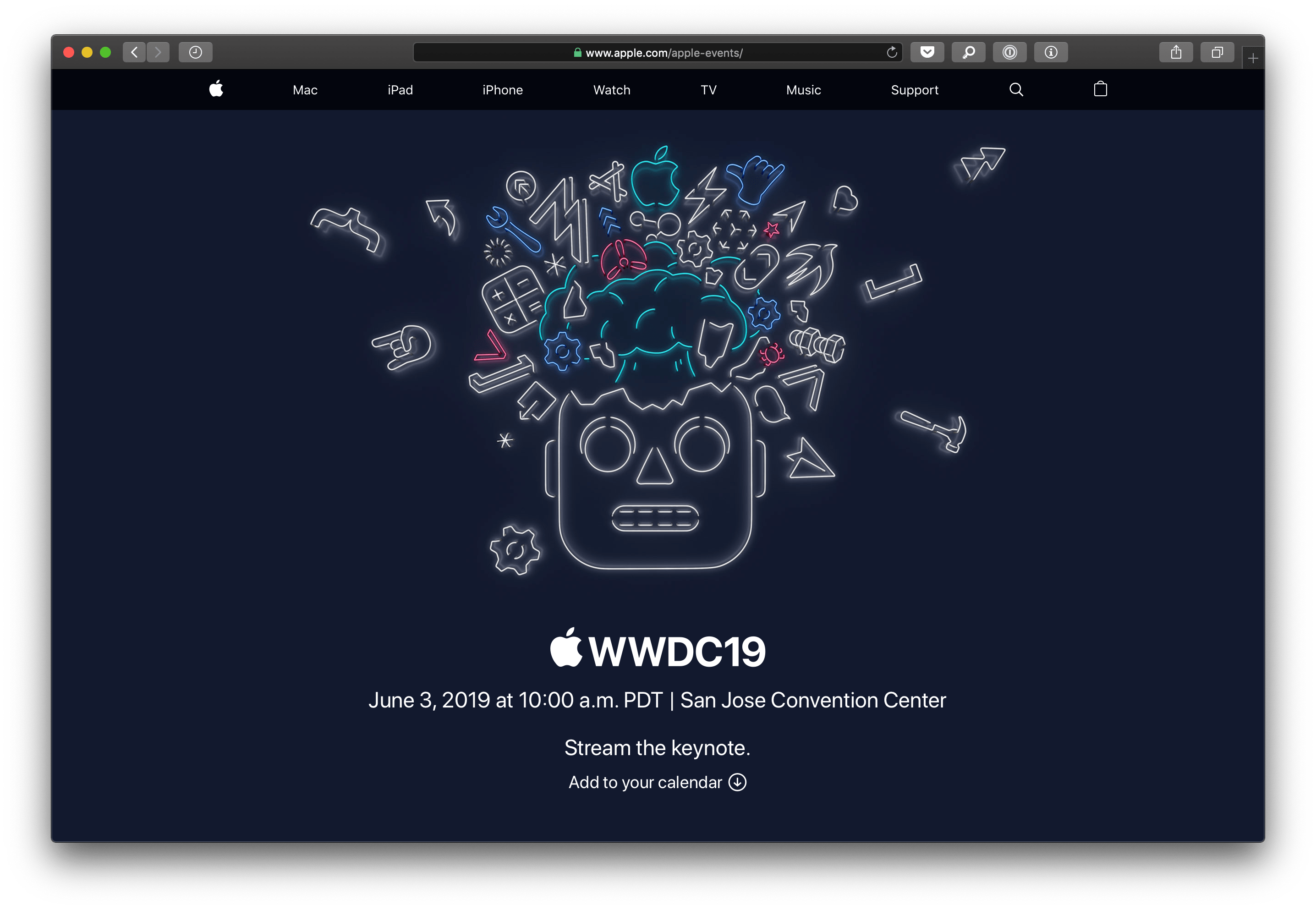 Streaming da Apple para a WWDC19