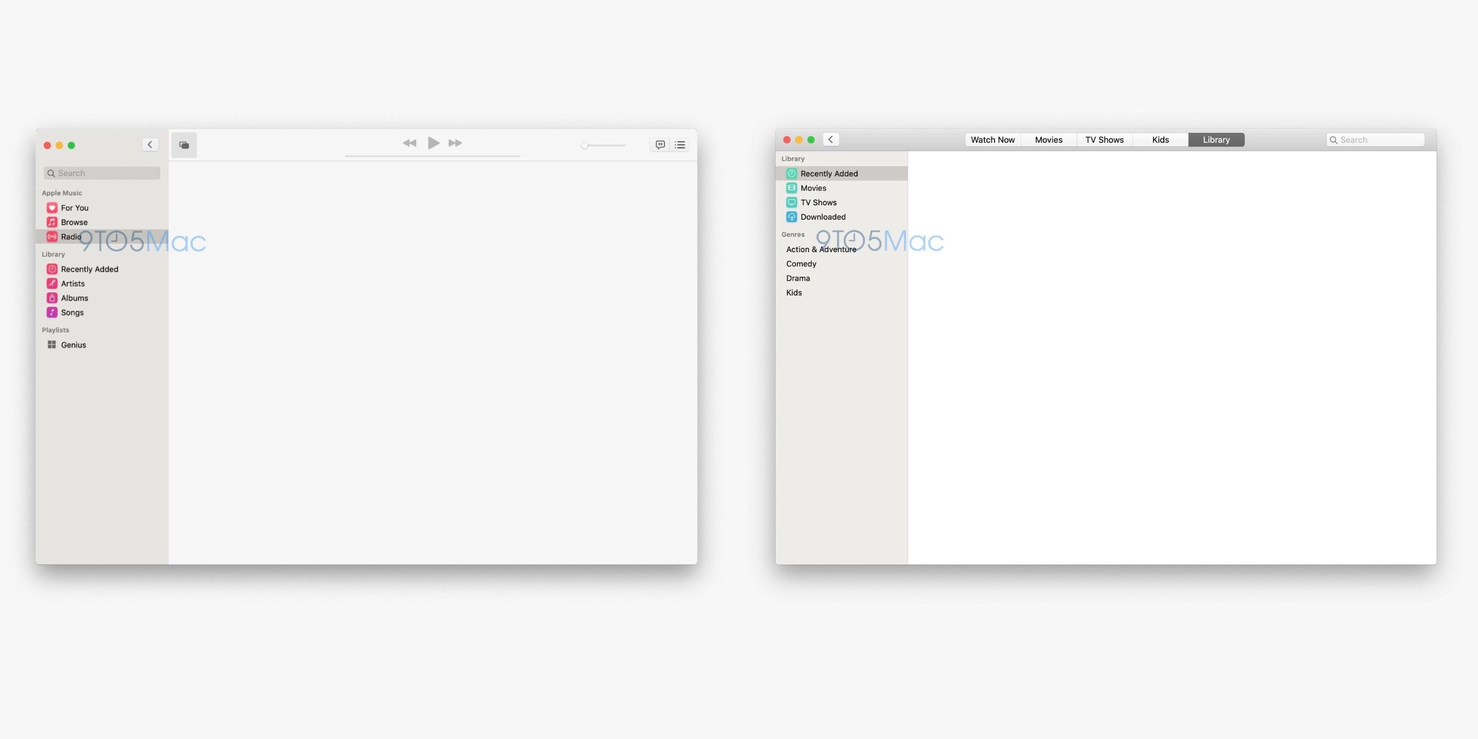 Apps Música e Apple TV no macOS 10.15