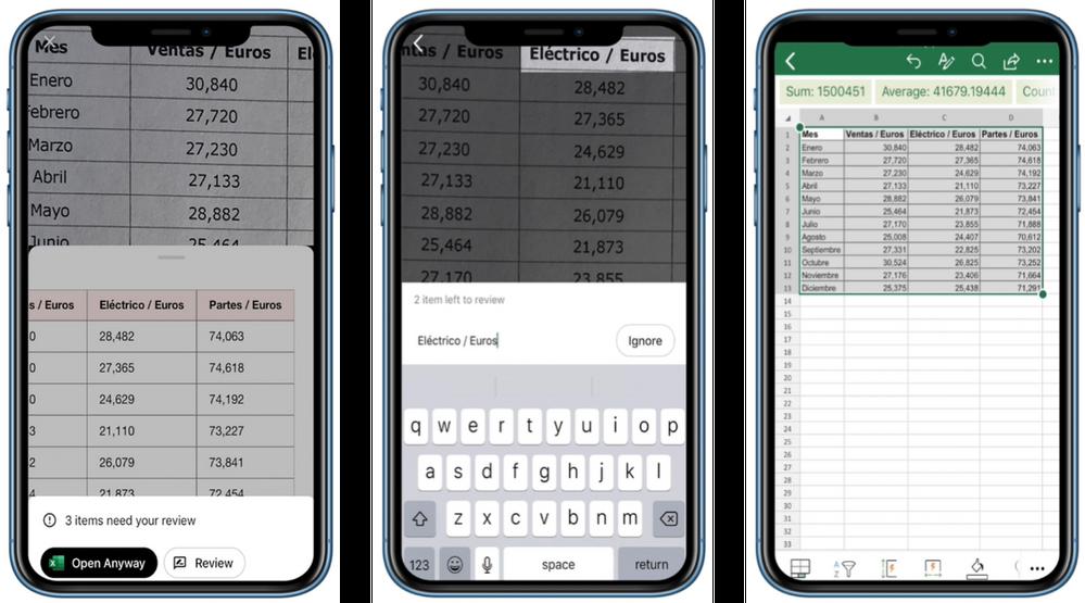 Importar dados de uma imagem no Excel para iOS