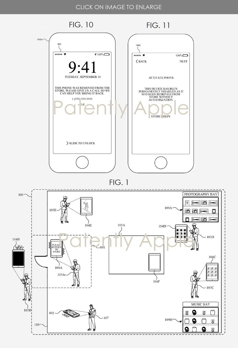 Patente da Apple descrevendo sistema de segurança para suas lojas