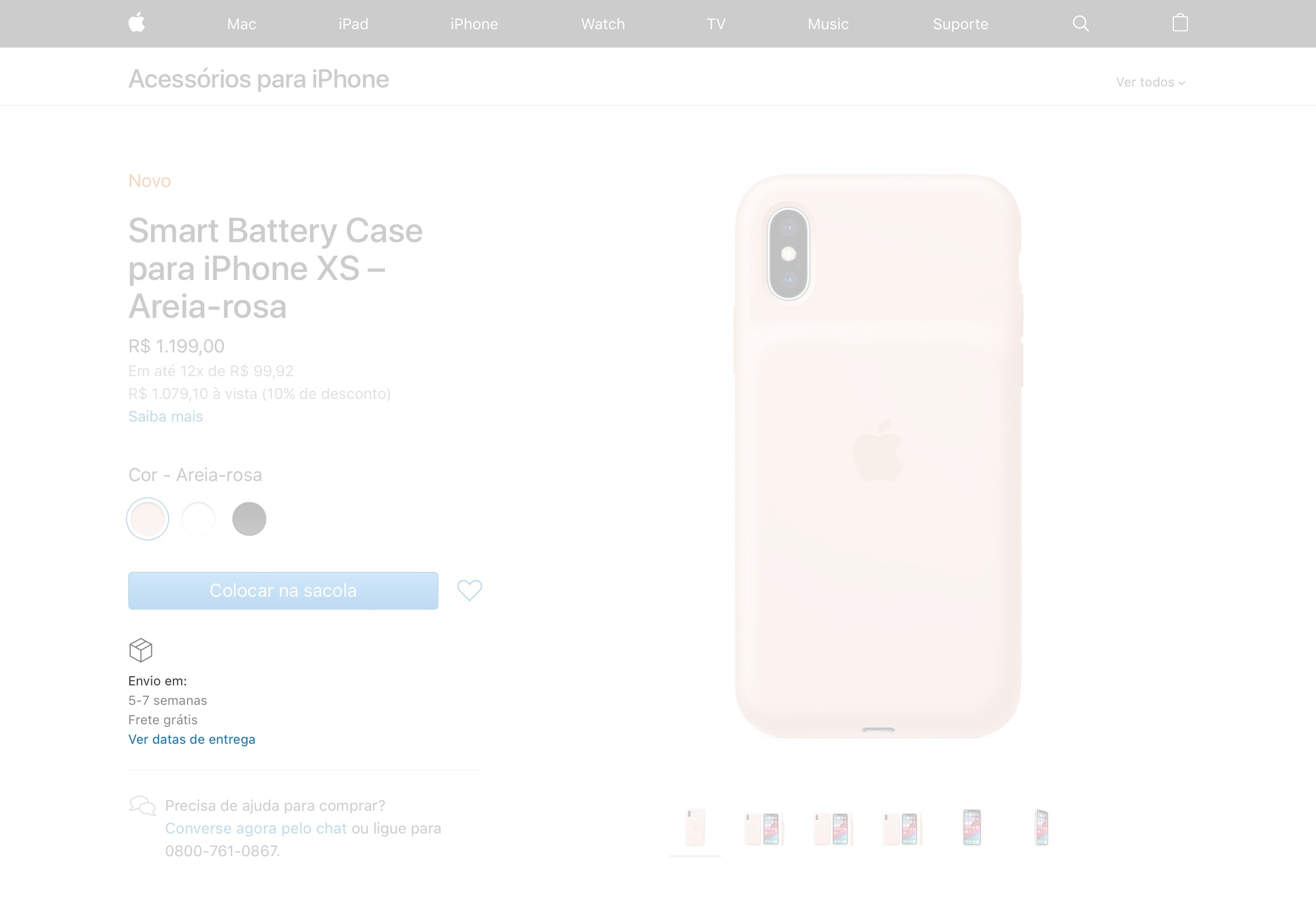 Estoque da Smart Battery Case para iPhone XS
