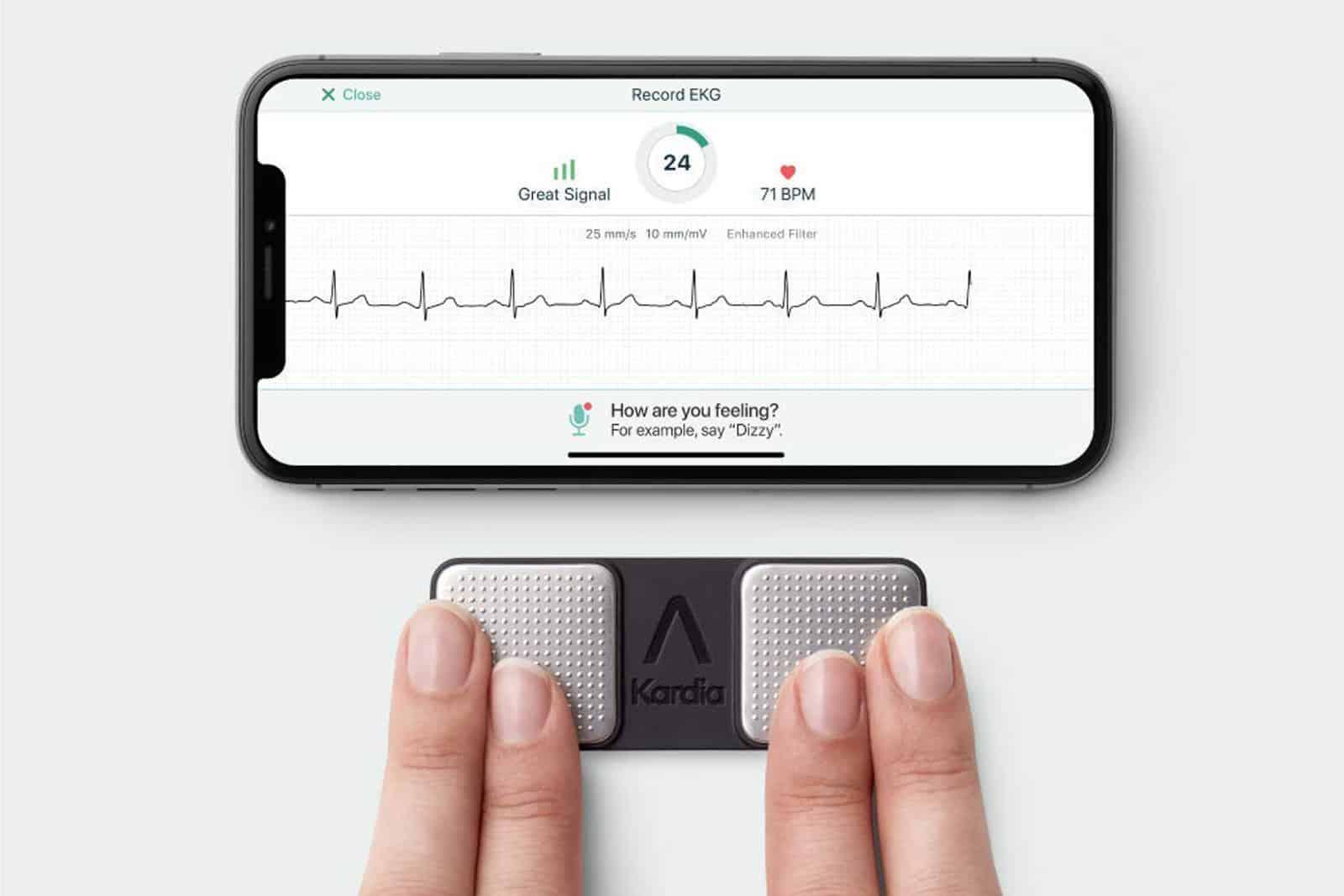 KardiaMobile, acessório de detecção cardíaca da AliveCor para iPhone