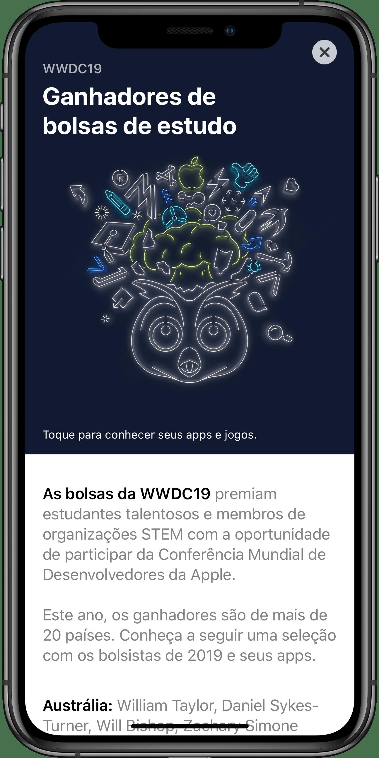 Apps de estudantes da WWDC19