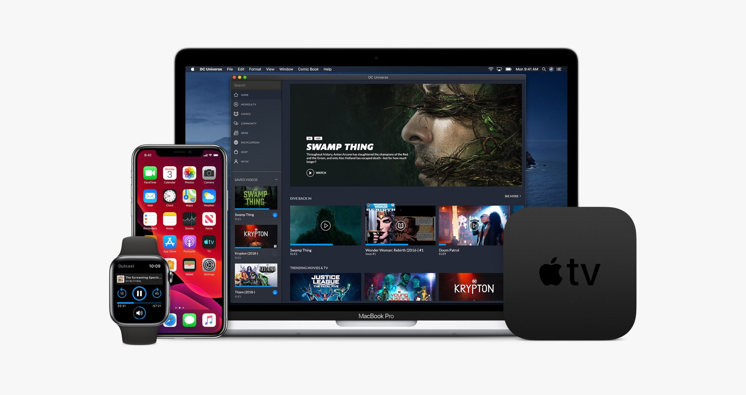 Dispositivos da Apple - Apple Watch (watchOS 6), iPhone (iOS 13), MacBook Pro (macOS Catalina 10.15) e Apple TV (tvOS 13)