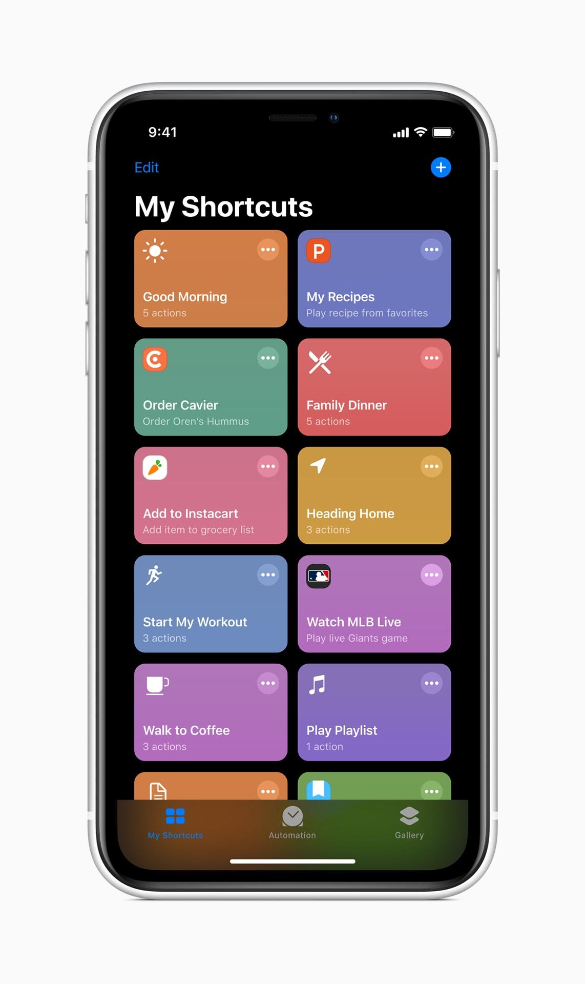 Atalhos da Siri rodando no iOS 13