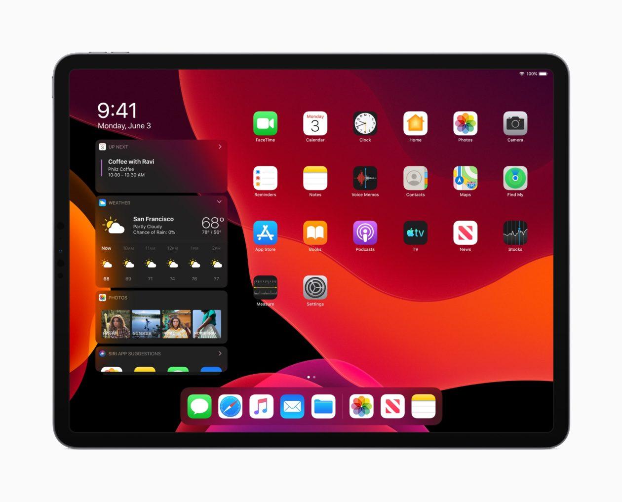 Tela inicial do iPad com Modo Escuro no iPadOS 13