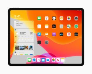 Tela inicial do iPad com o iPadOS 13