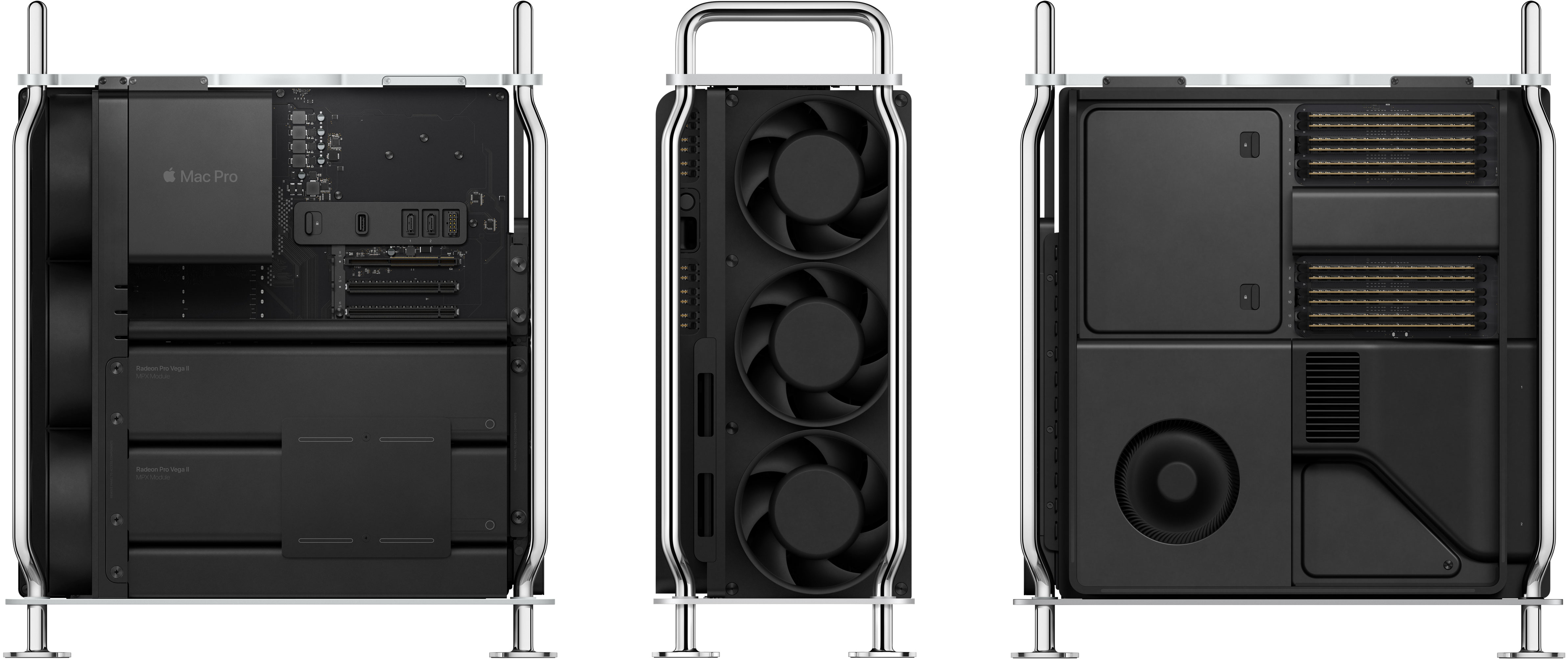 Novo Mac Pro aberto visto por vários ângulos