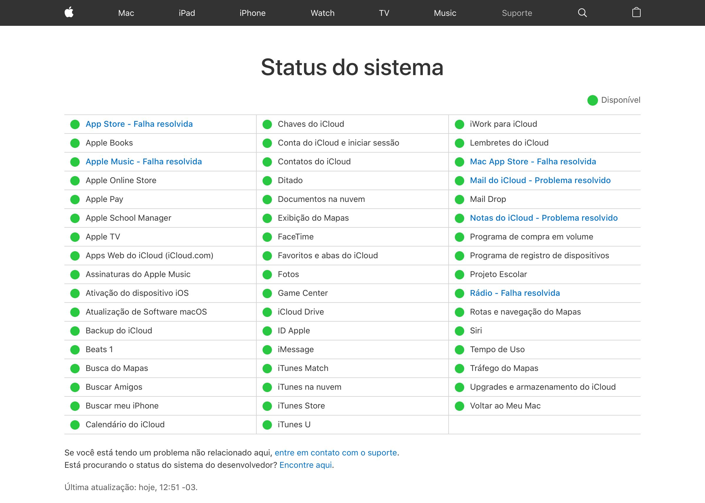 Status do sistema