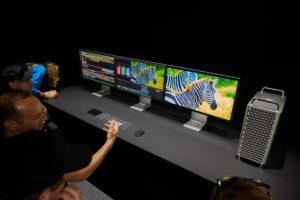 Novo Mac Pro com três Pro Displays XDR na WWDC19