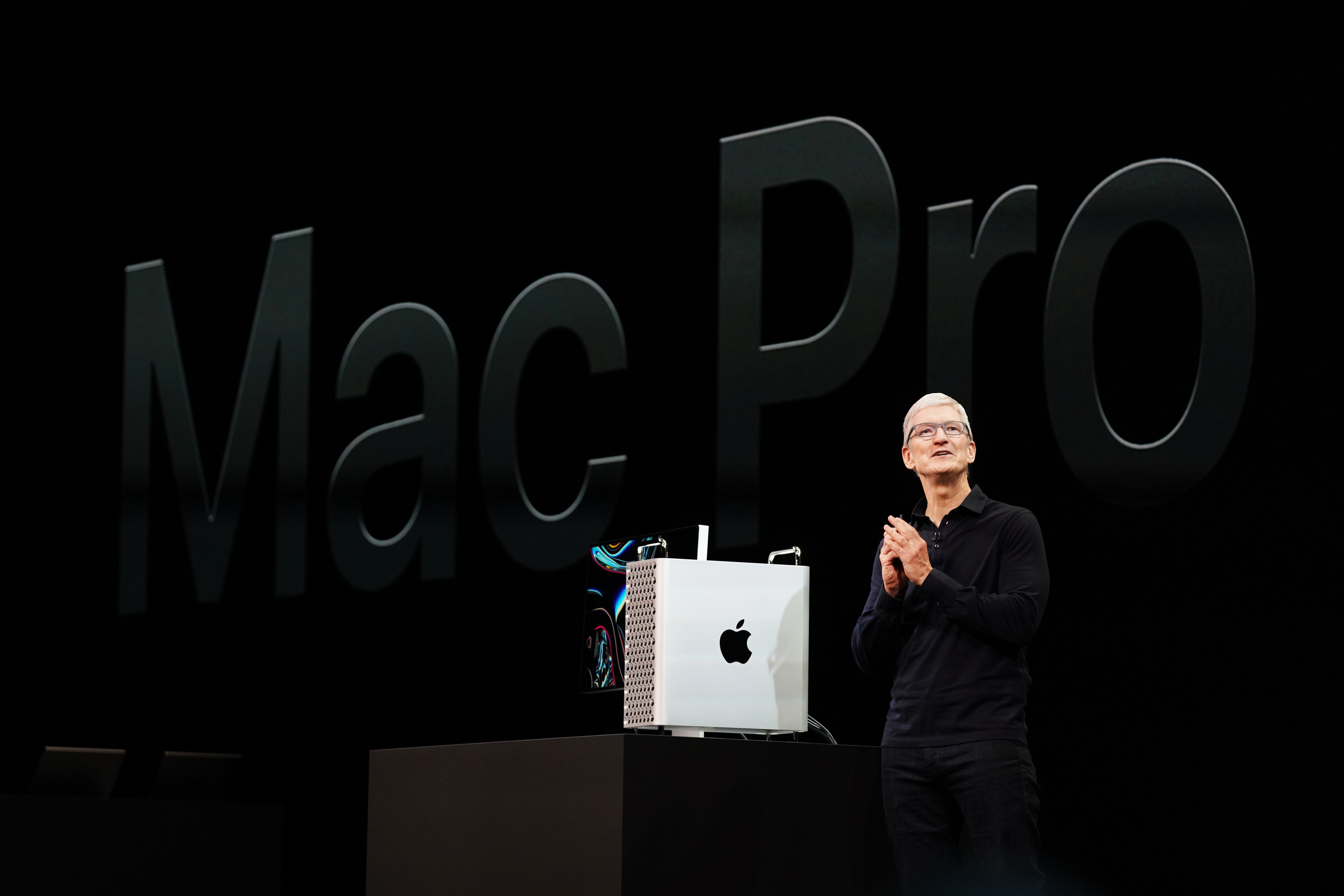 Tim Cook apresentando o novo Mac Pro na WWDC19
