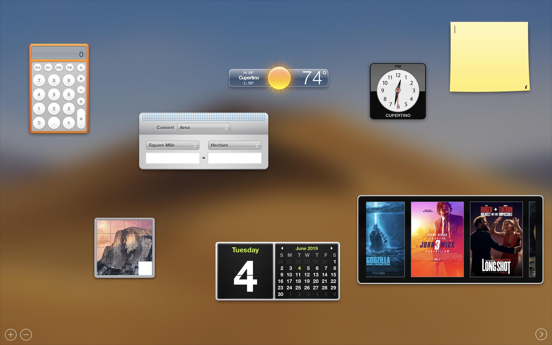 Dashboard do Mac