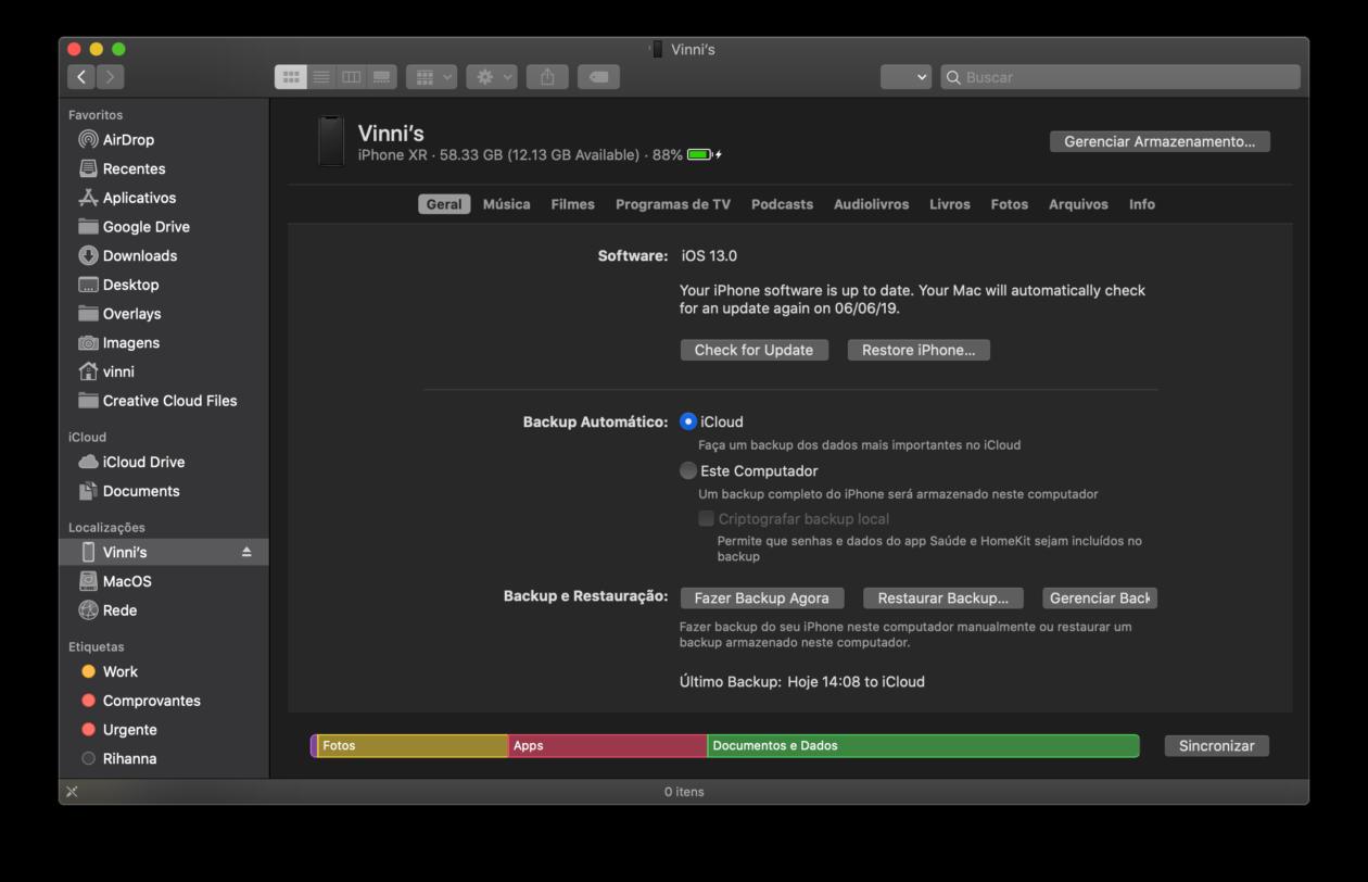 Sincronizando iPhones e iPads no macOS Catalina 10.15