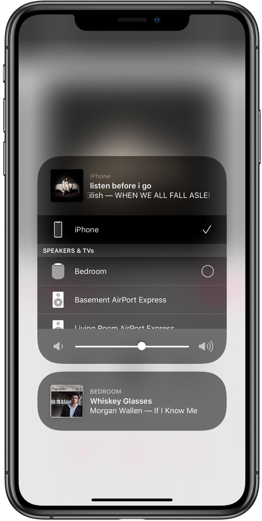 AirPlay na Central de Controle do iOS 13