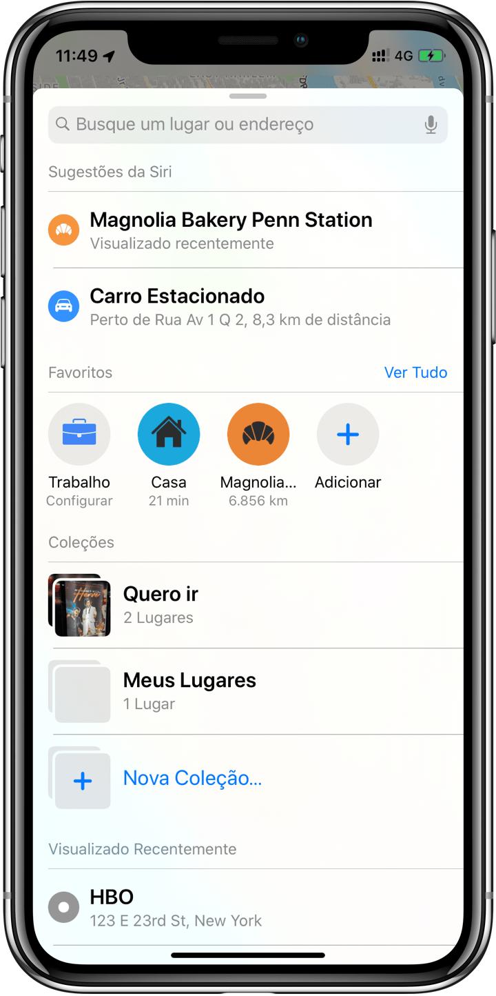 """""""Coleções"""" e """"Favoritos"""" no Mapas do iOS 13"""
