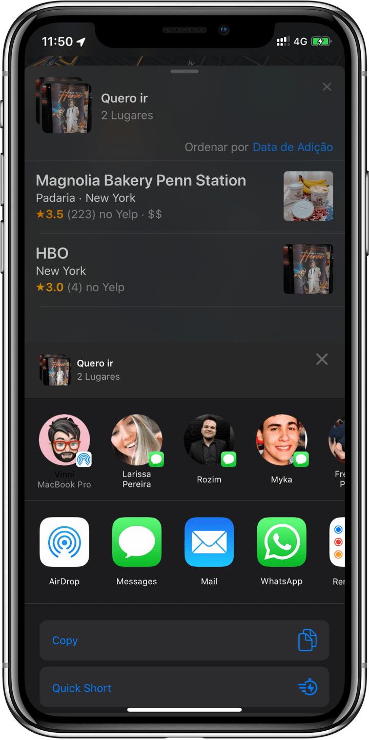 """""""Coleções"""" e """"Favoritos"""" no Maps no iOS 13"""