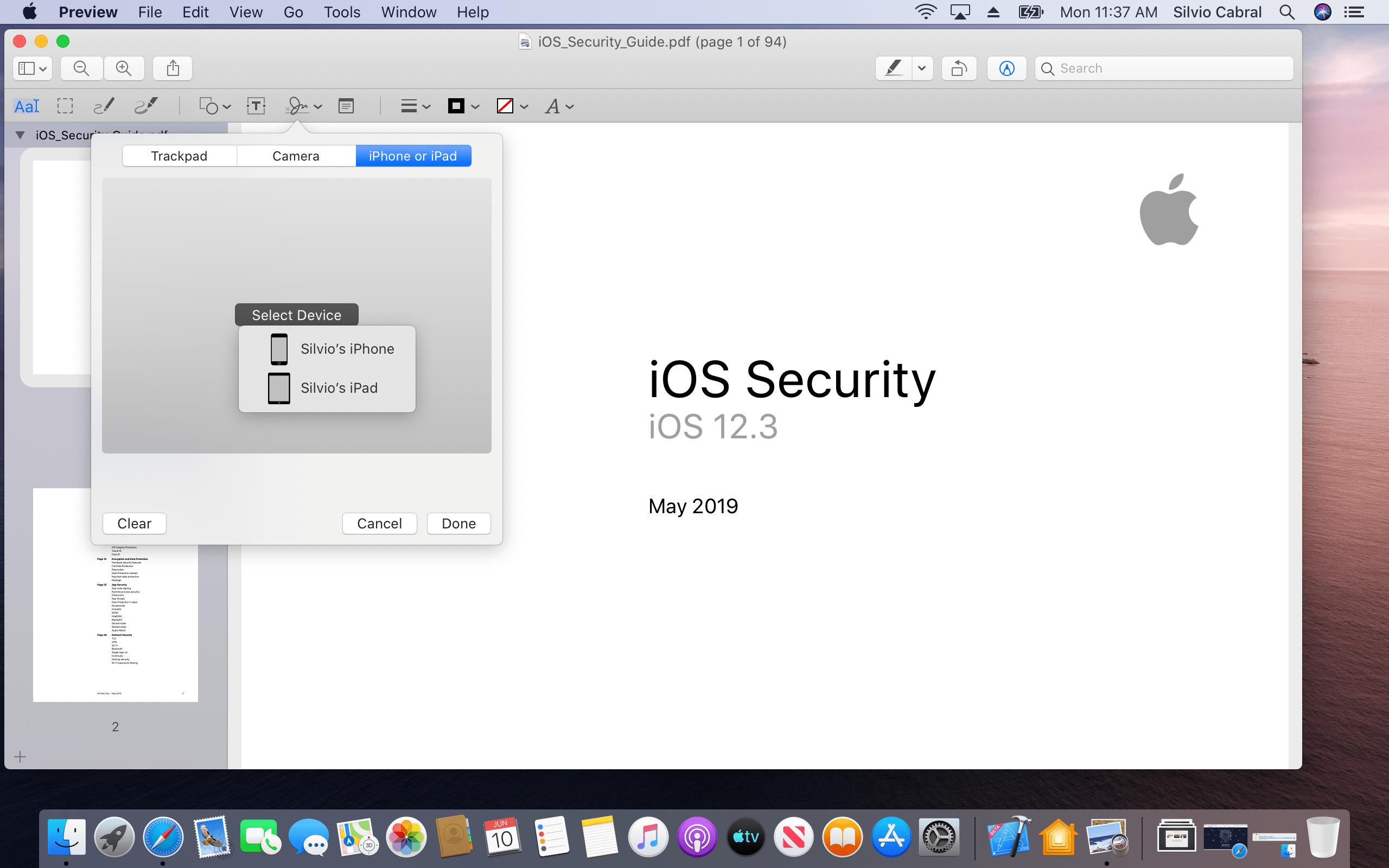Assinando PDFs no macOS Catalina