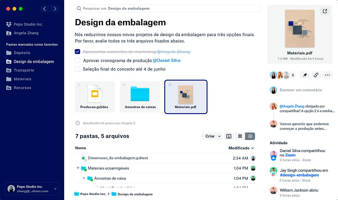 Gerenciamento de conteúdos no novo Dropbox
