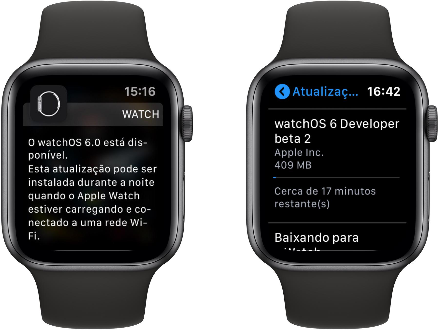 Atualização de software OTA no watchOS 6
