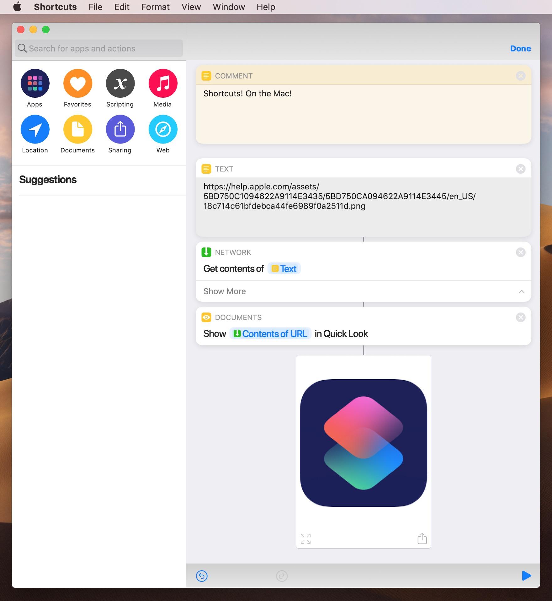 App Atalhos no macOS