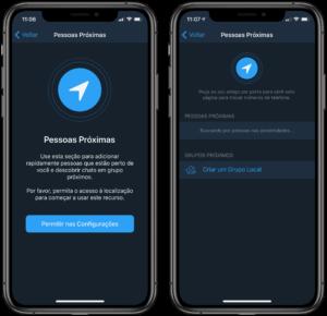 Pessoas e Grupos Locais no Telegram
