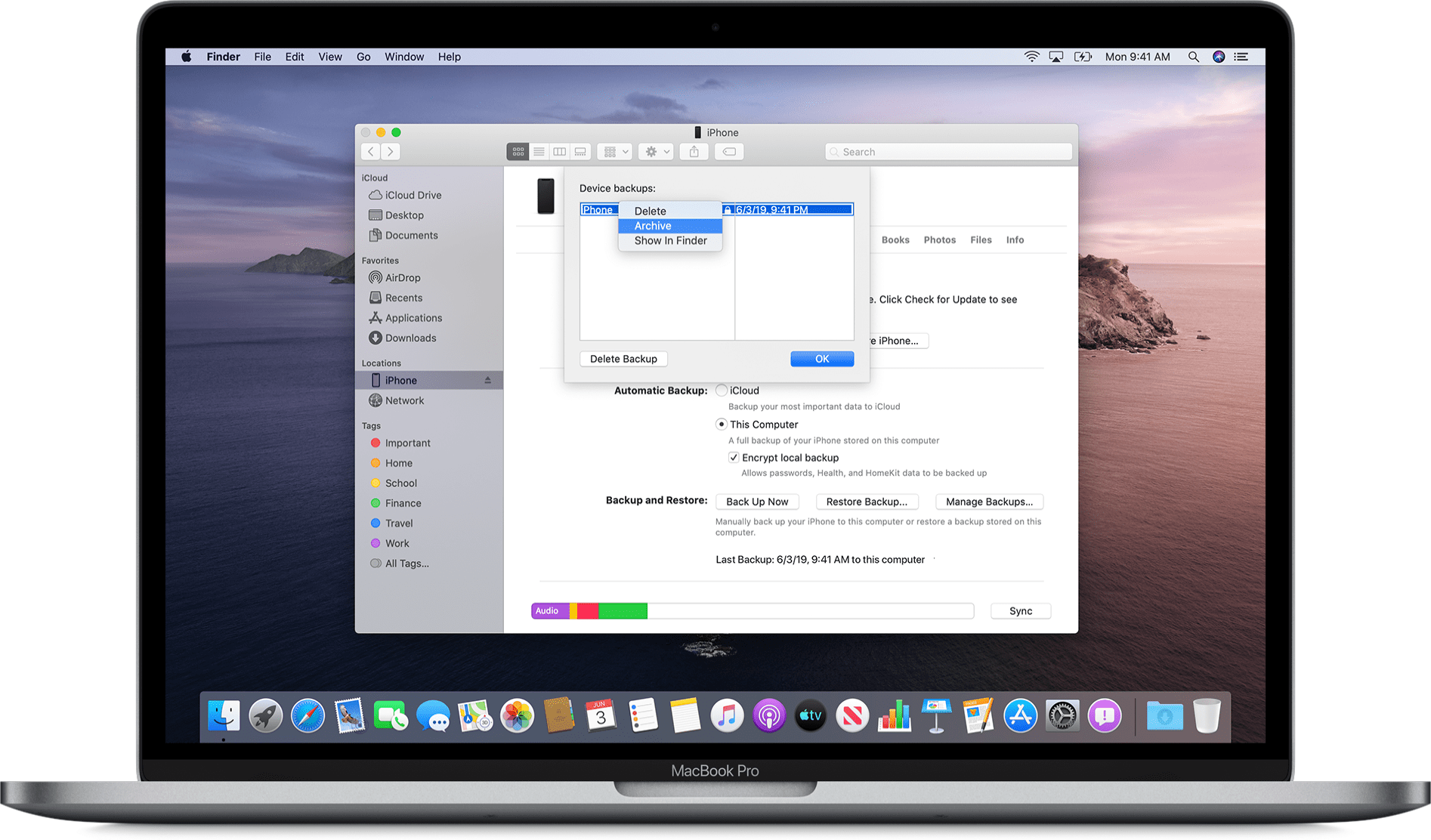 Arquivando um backup pelo Finder no macOS Catalina