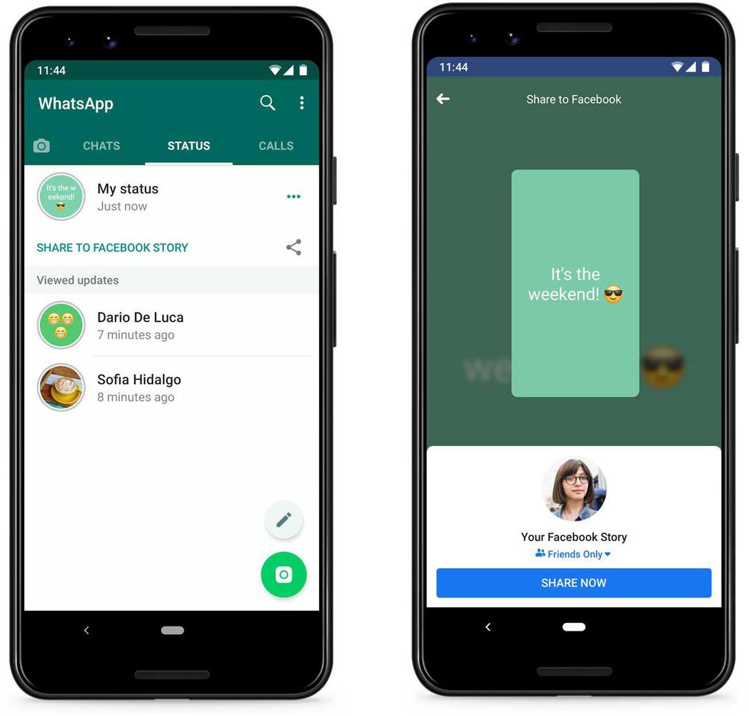 Compartilhamento de Status do WhatsApp