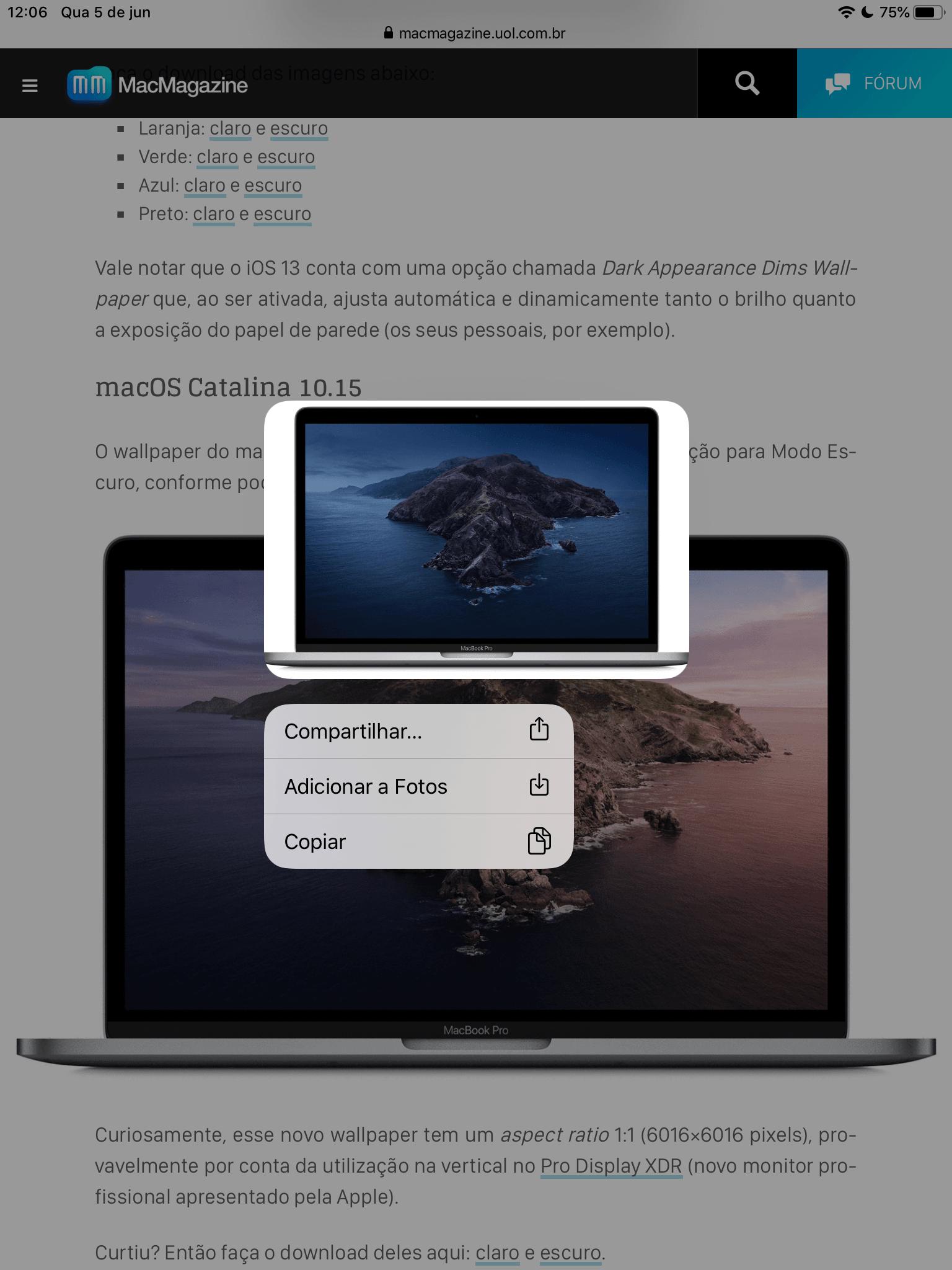 Opções de imagem no Safari 13