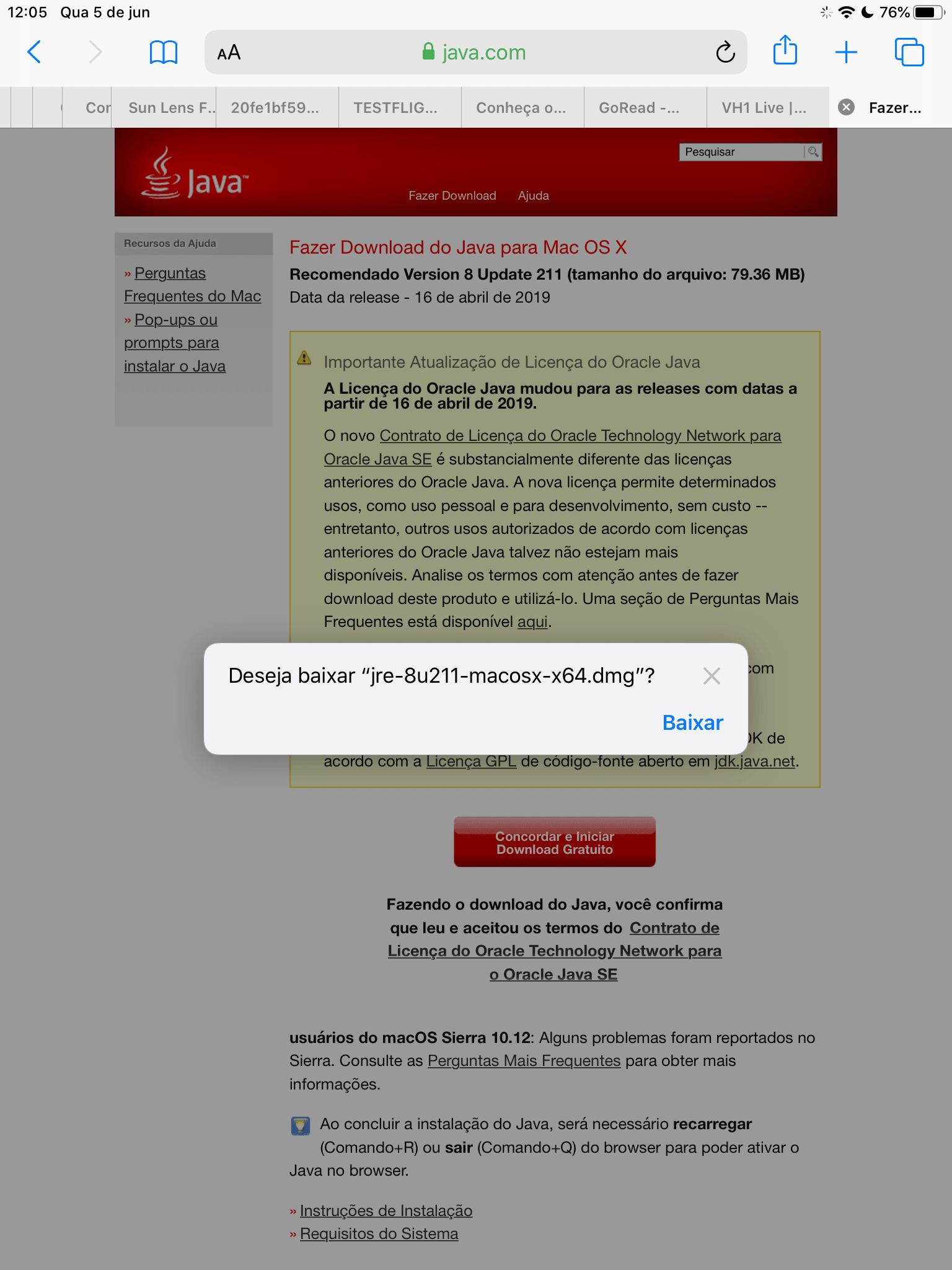 Gerenciador de downloads no Safari 13