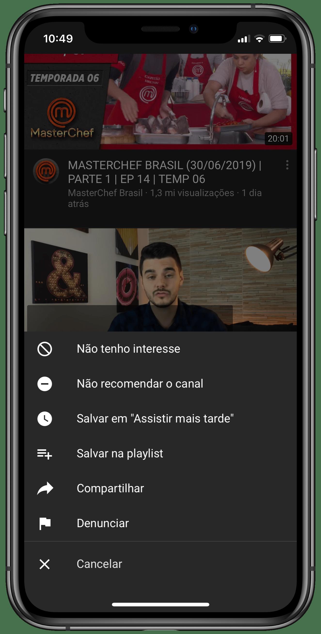"""Opção """"Não recomendar canal"""" no YouTube para iOS"""