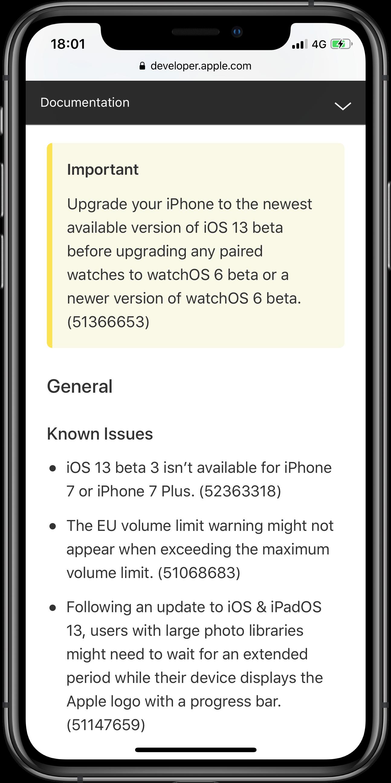 Aviso na documentação do watchOS 6 alertando que se atualize o iPhone primeiro