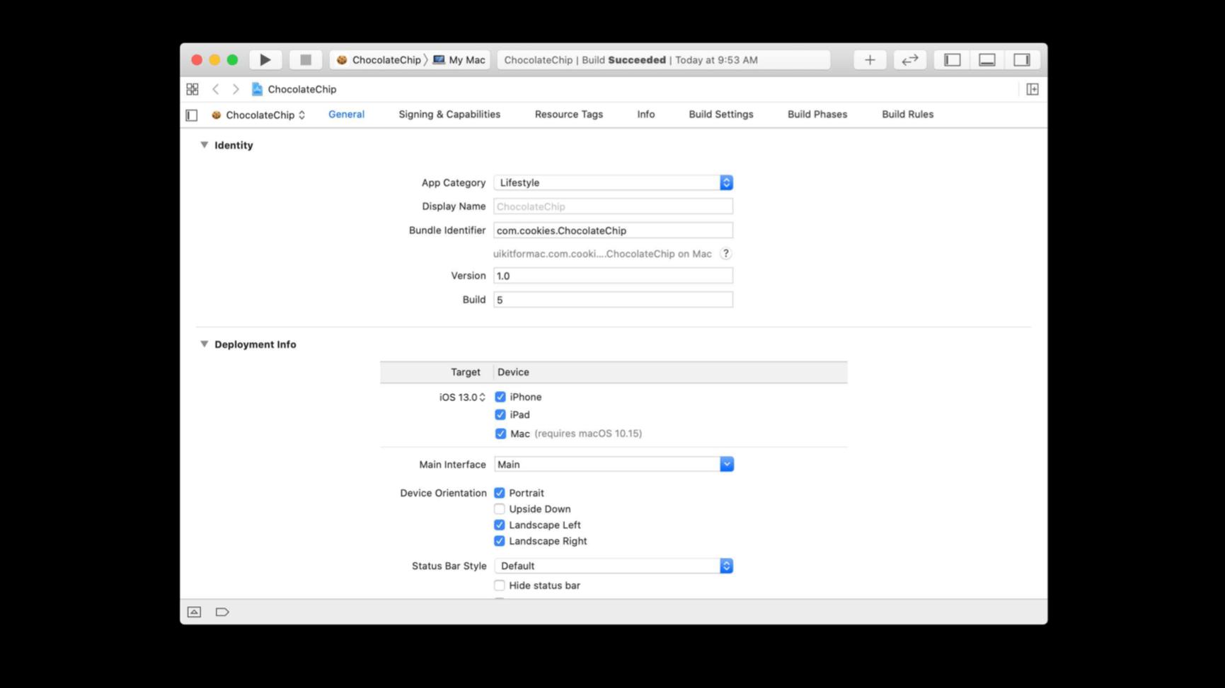 Xcode rodando com o Projeto Catalyst