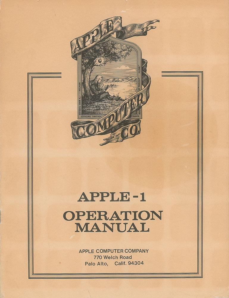 Capa do manual do Apple I