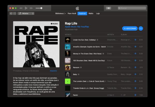 "Playlist ""Rap life"" no Apple Music"