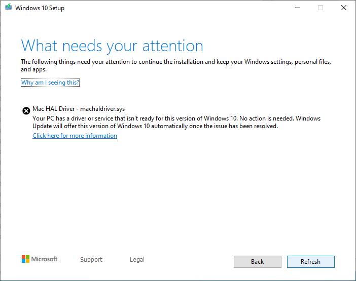 Erro do Windows 10 ao tentar atualizar o sistema em Macs antigos no Boot Camp