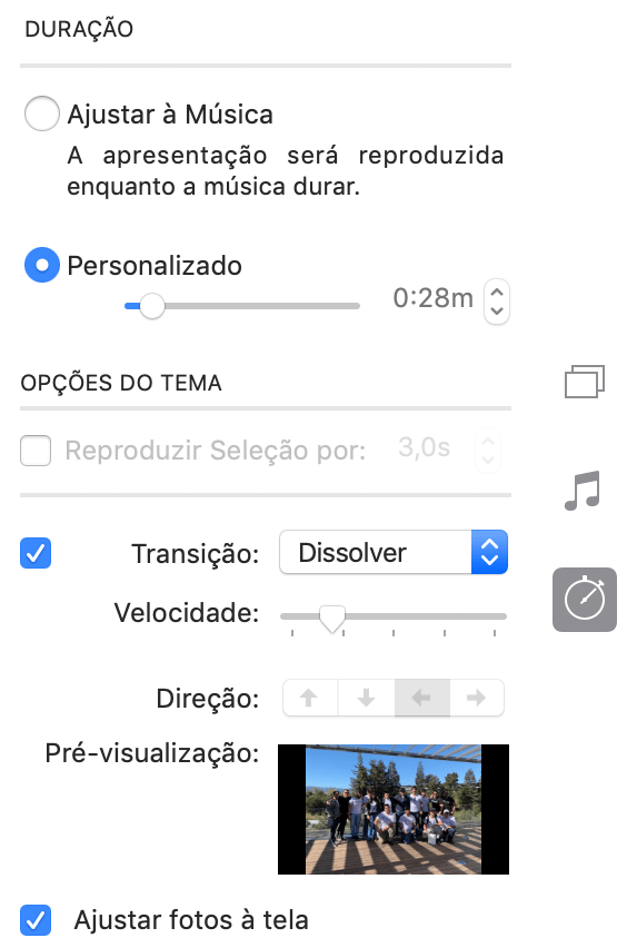 Ajustes de slideshow no Fotos do macOS