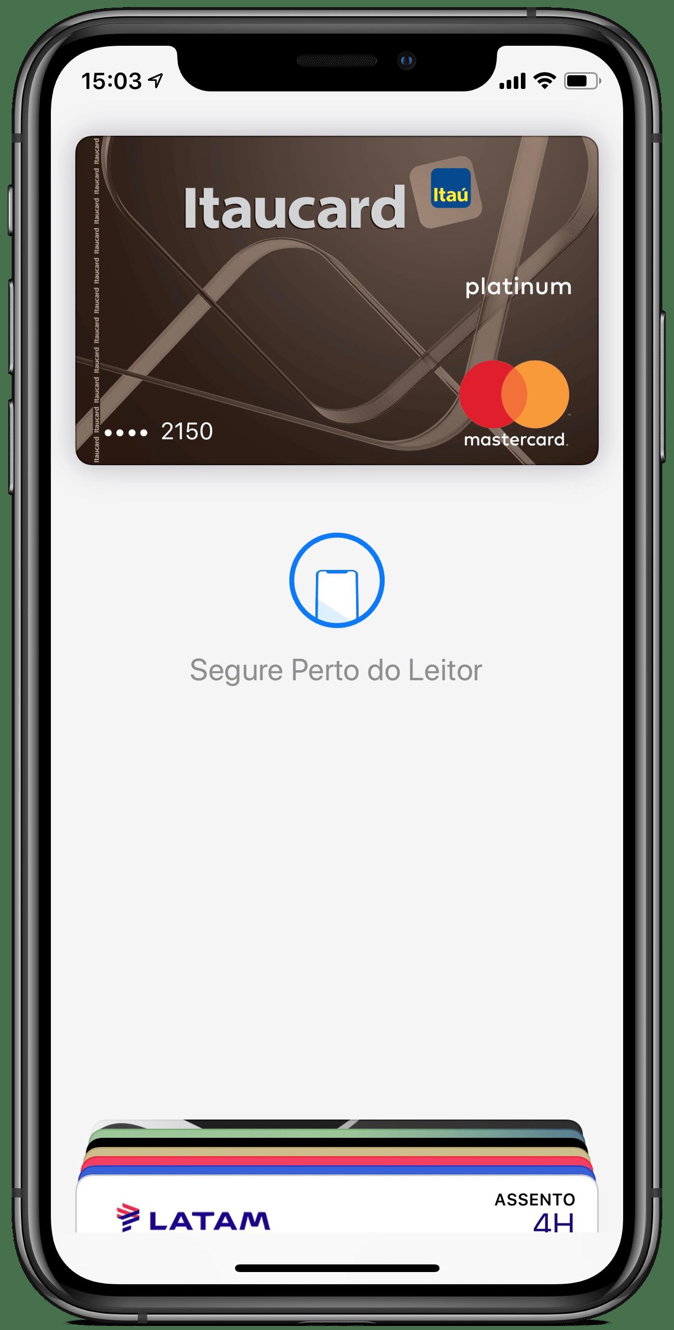Cartão adicional do Banco Itaú cadastrado no Apple Pay em iPhone XS